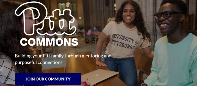 Pitt Commons homepage - students sitting around a desk