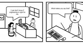 A cartoon featuring an advisor and advisee